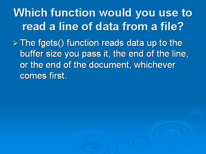 50_Which function would you use to read a line of data from a file