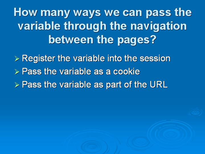 8_How many ways we can pass the variable through the navigation between the pages