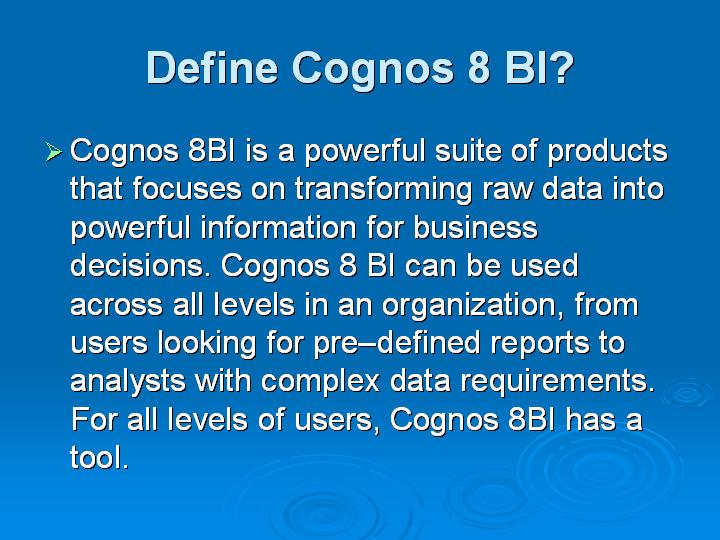 12_Define Cognos 8 BI