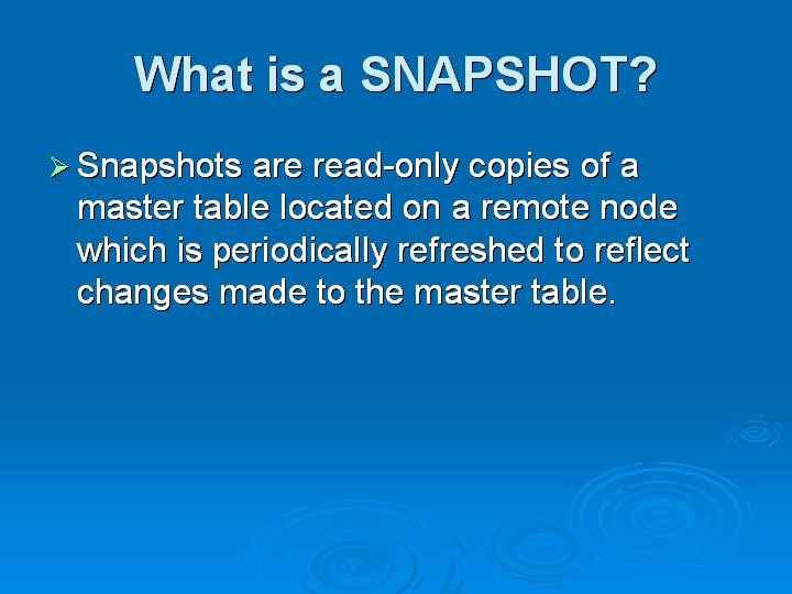 21_What is a SNAPSHOT