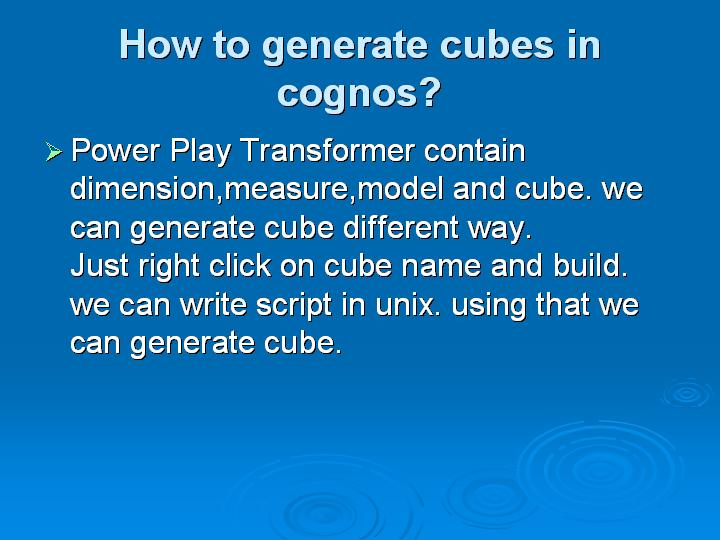 22_How to generate cubes in cognos