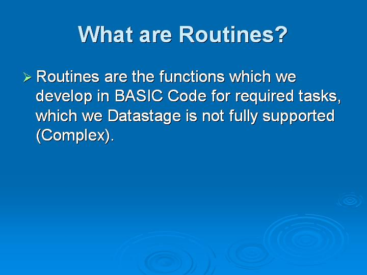 22_What are Routines