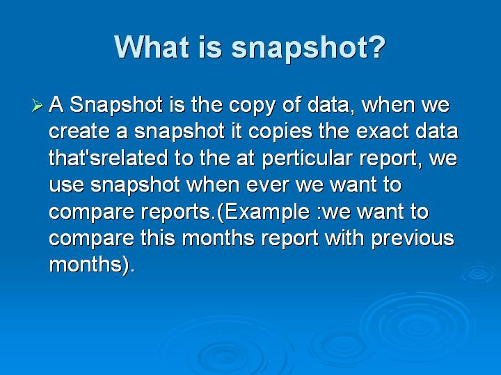 23_What is snapshot