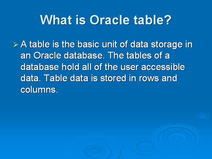 2_What is Oracle table