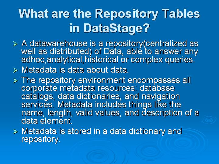 38_What are the Repository Tables in DataStage