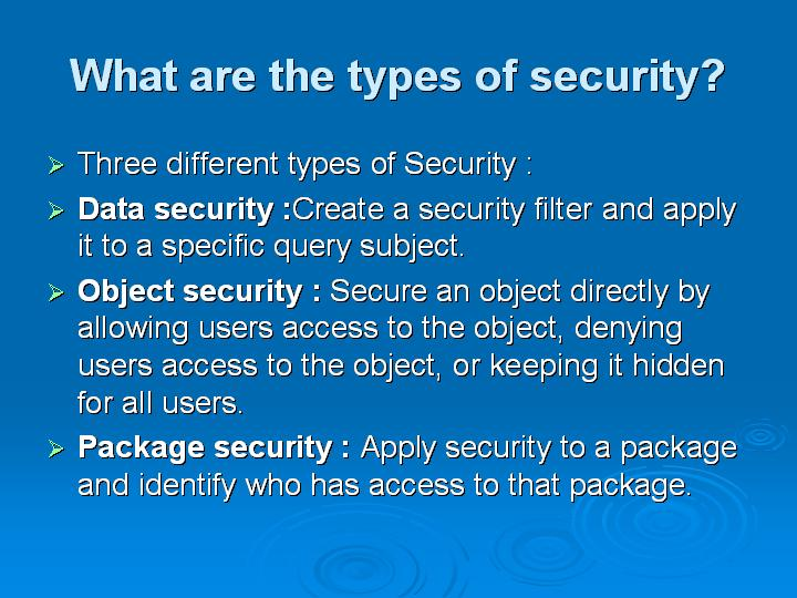39_What are the types of security