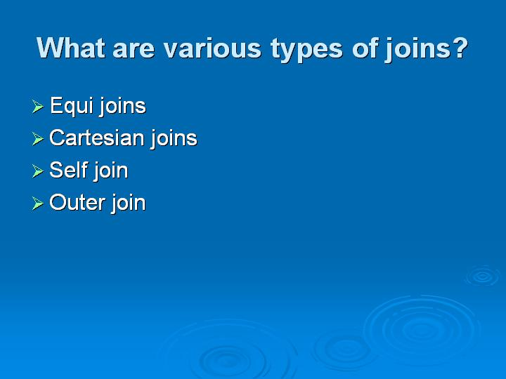 39_What are various types of joins