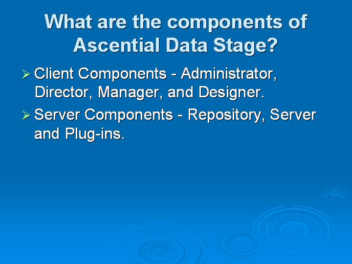 3_What are the components of Ascential Data Stage