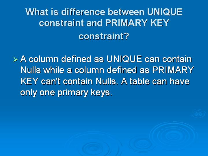 44_What is difference between UNIQUE constraint and PRIMARY KEY constraint