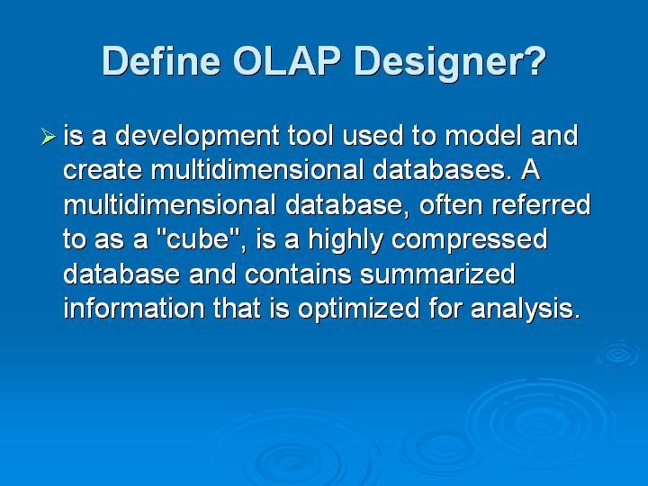 47_Define OLAP Designer