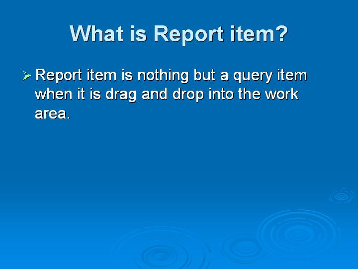 4_What is Report item
