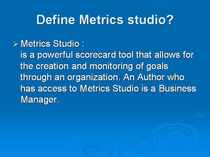51_Define Metrics studio