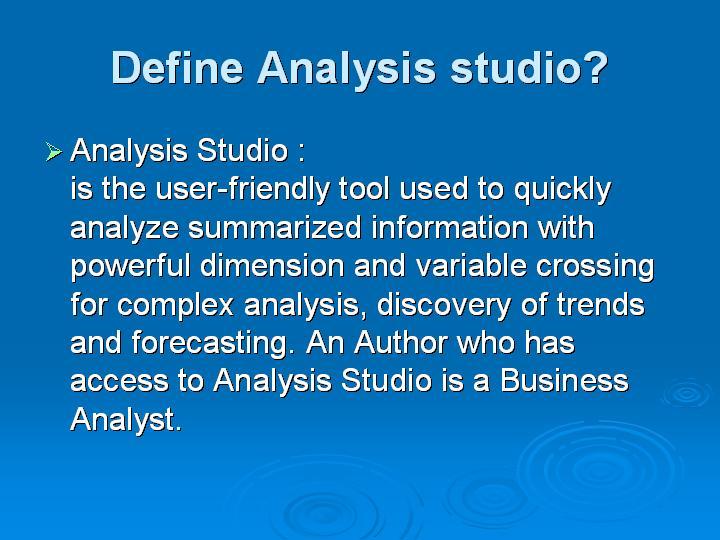 52_Define Analysis studio