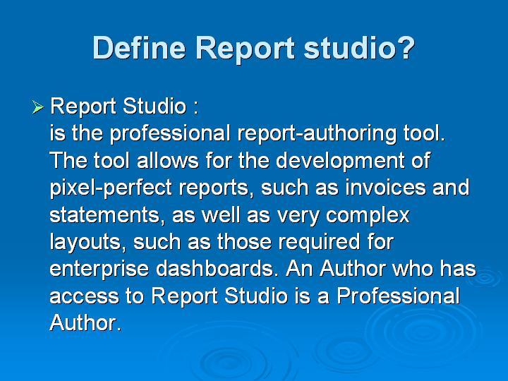 53_Define Report studio