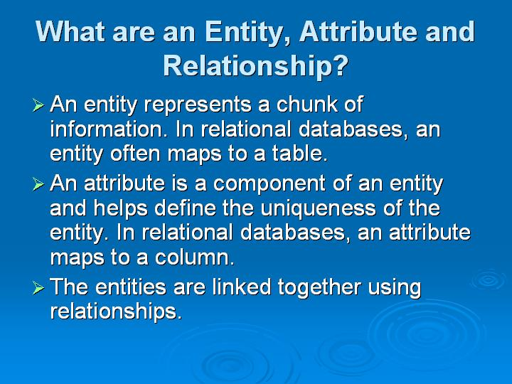 57_What are an Entity Attribute and Relationship