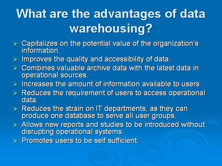 66_What are the advantages of data warehousing