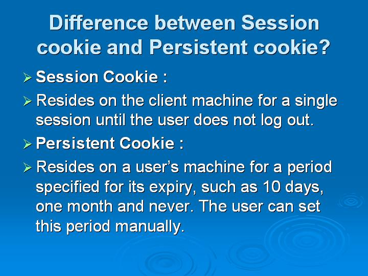 14_Difference between Session cookie and Persistent cookie
