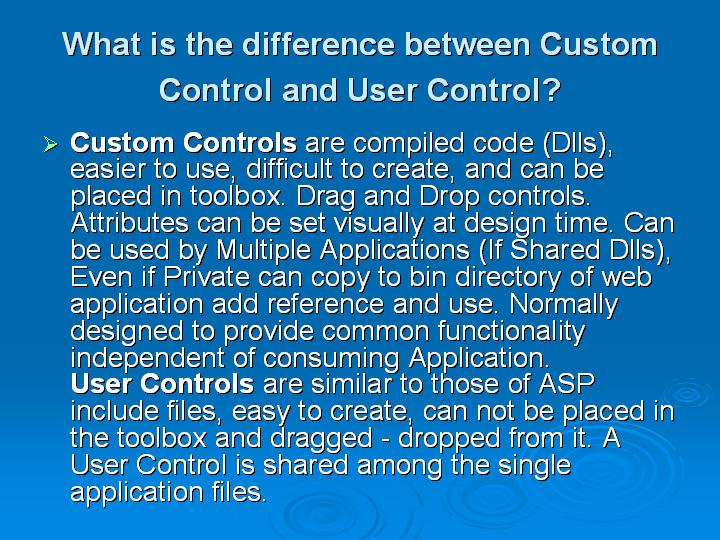 17_What is the difference between Custom Control and User Control