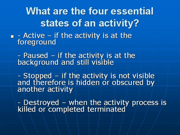 19_What are the four essential states of an activity