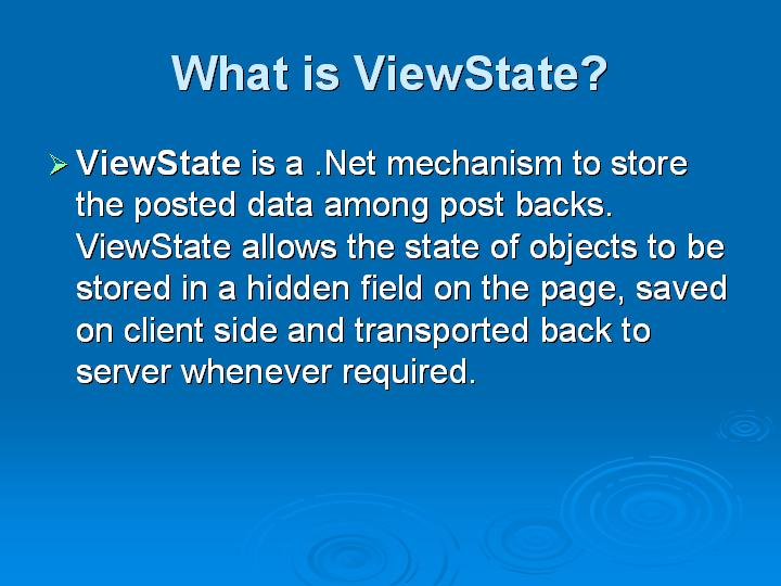 19_What is ViewState