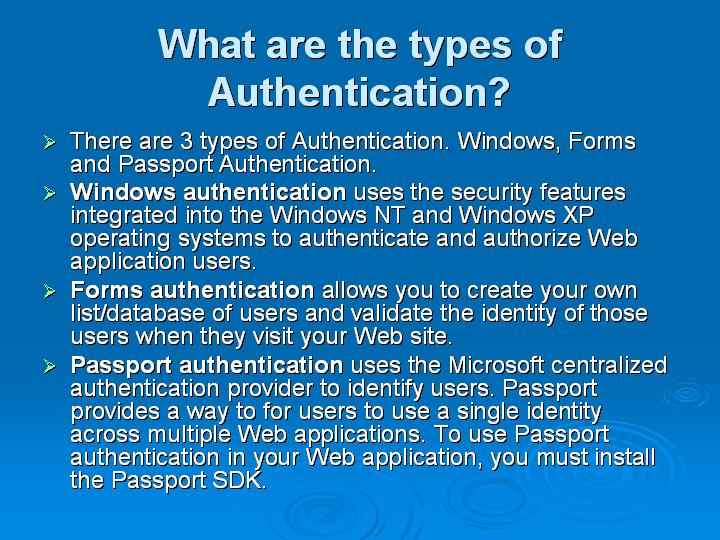 21_What are the types of Authentication