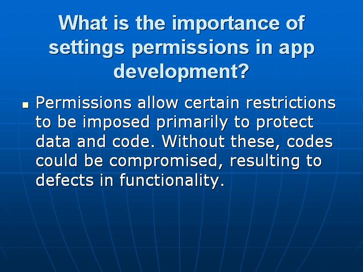23_What is the importance of settings permissions in app development