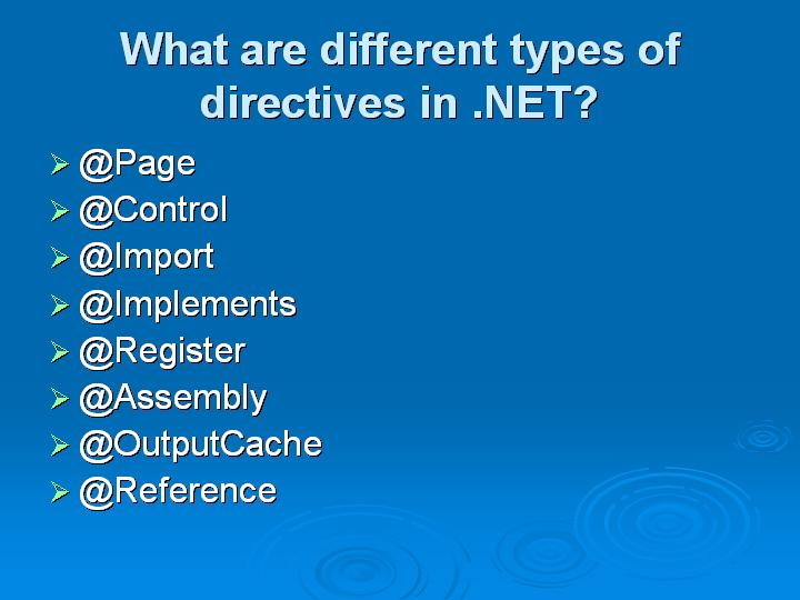 24_What are different types of directives in NET