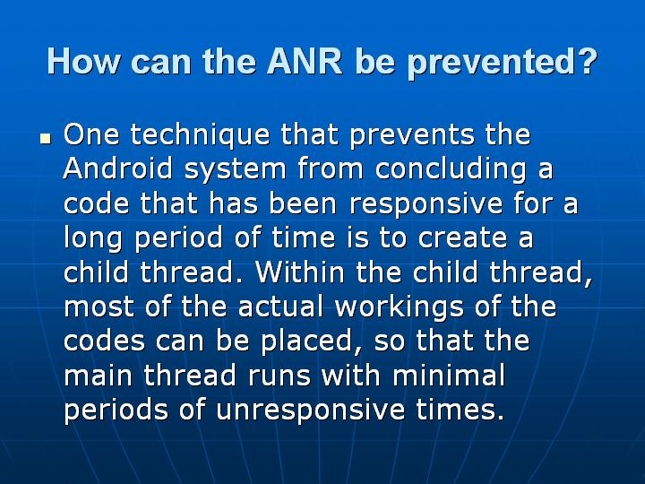 29_How can the ANR be prevented