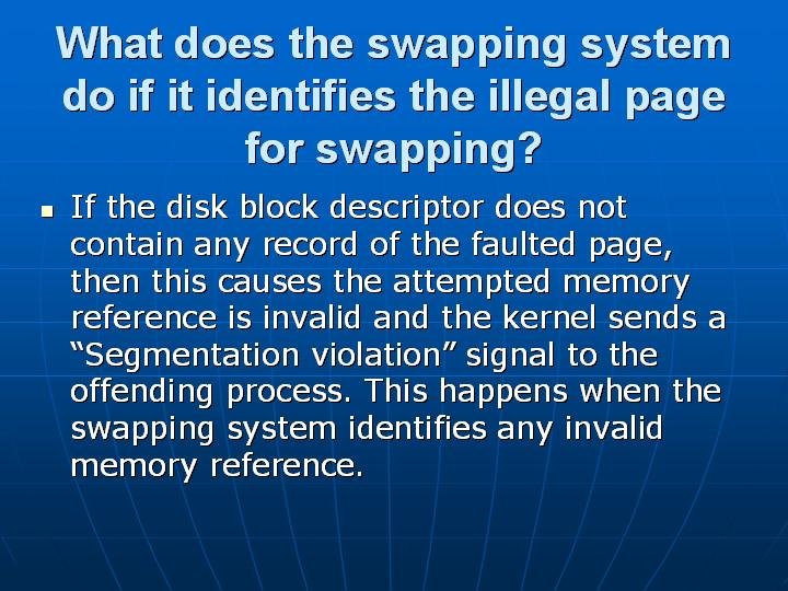 29_What does the swapping system do if it identifies the illegal page for swapping