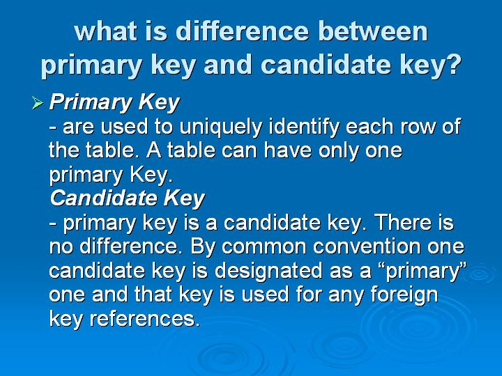 32_what is difference between primary key and candidate key