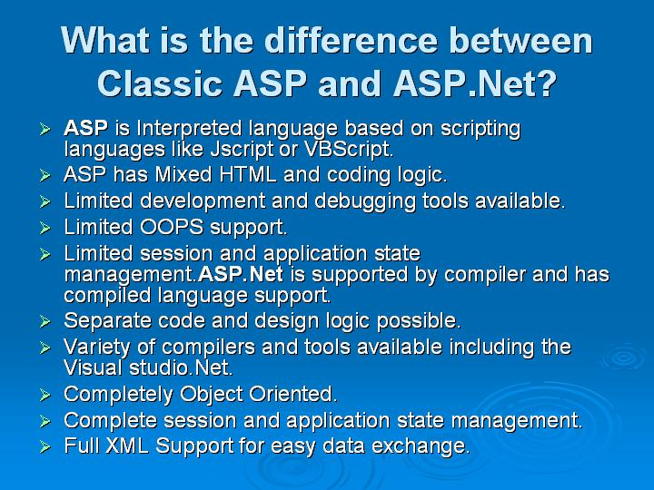 3_What is the difference between Classic ASP and ASPNet