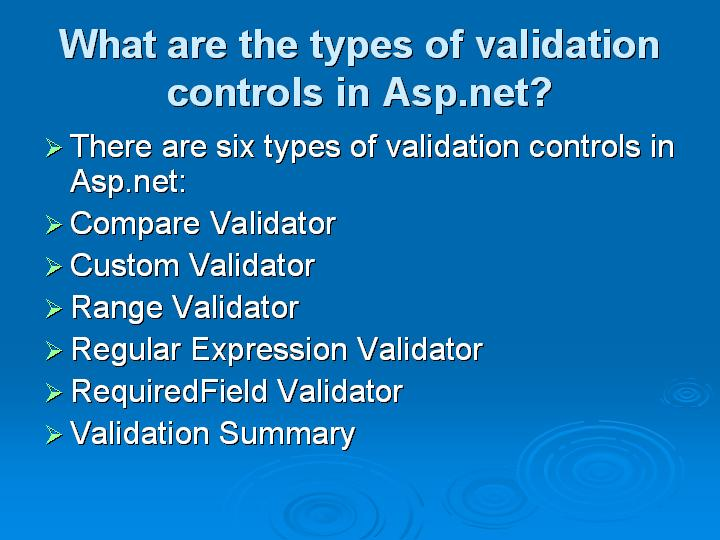 40_What are the types of validation controls in Aspnet