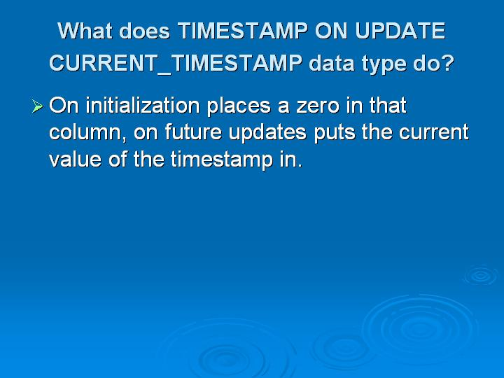 42_What does TIMESTAMP ON UPDATE CURRENT_TIMESTAMP data type do