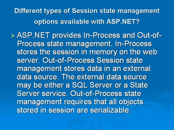 45_Different types of Session state management options available with ASPNET