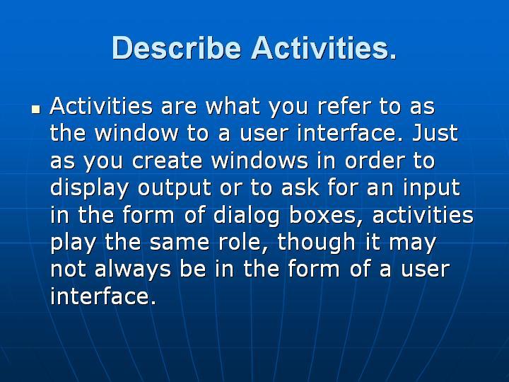 9_Describe Activities